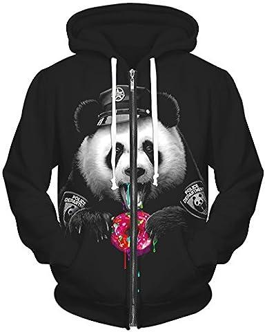 TDOLAH Herren Spaß Hoodie Sweatshirts 3D Digital Print Kapuzenpullover mit Reißverschluss (L / XL, Herr (Panda Kostüm Männer)