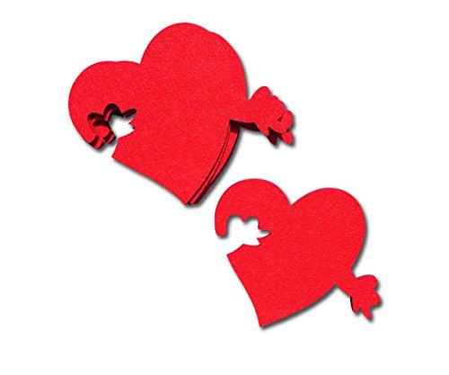 SUPMO Filzuntersetzer in Herzform Glasuntersetzer Herzen in rot orange grün, 5er Set, 5mm dick, elegant und auffallend - Untersetzer aus Filz für Getränke Gläser Schalen (Rot) (Glas Vase Herz Rot)