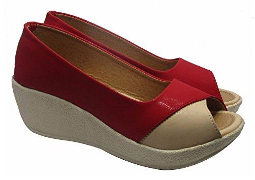 Sammy les femmes »de les dames confort cove coin peep toe chaussures casual Rouge