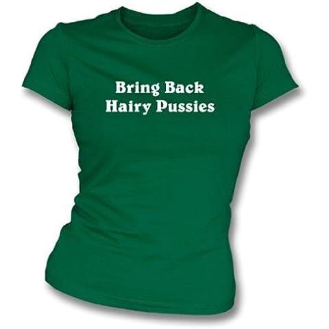 Traiga detrás a gatitos melenudos las muchachas camiseta del slimfit X-Grande (el verde de