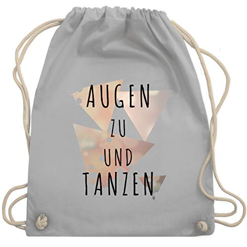 Shirtracer Festival Turnbeutel - Augen zu und tanzen - schwarz - Unisize - Hellgrau - WM110 - Turnbeutel und Stoffbeutel aus Bio-Baumwolle