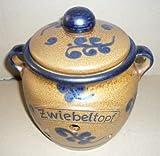 Zwiebeltopf aus Keramik Inhalt: 1,25 Ltr. Dekor braun-blau