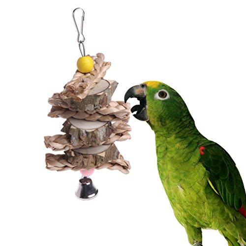 wiffe Parrot Bird Toys natürliches Holz Strick Gras Kauen Bite Aufhängen Käfig Bell Swing