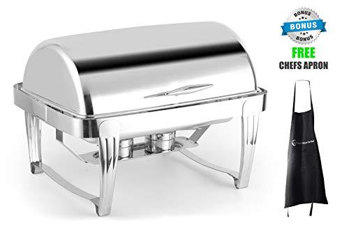ChefMaid Deluxe High End Edelstahl Chafer mit Rolldeckel, 8 Liter Chafing Dish Set mit gratis Kochschürze Chafer-chafing Dish