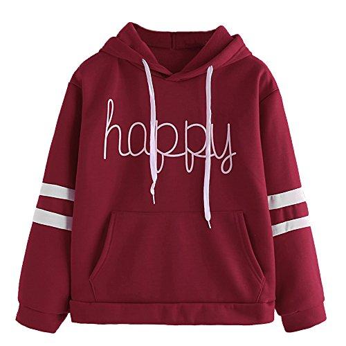 Vêtements LILICAT Les lettres des femmes décalcomanies de mode à manches longues sweat-shirt à capuche sweat shirt heureux Wine Red