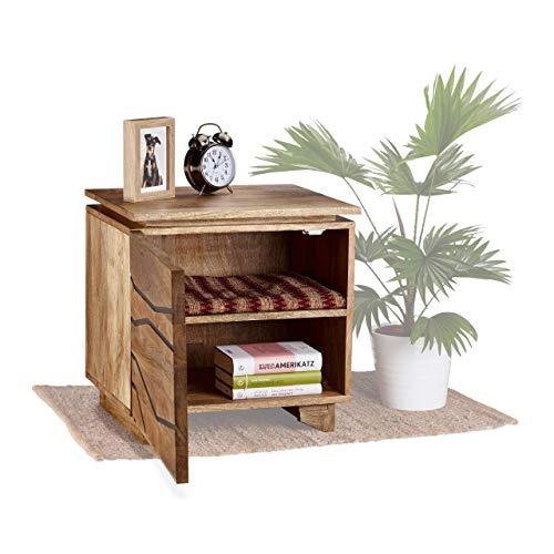 Native Home Nachtschrank Holz, mit Tür, massiv, aus Mangoholz, mit Muster, Nachttisch, HxBxT: 50 x 50 x 40 cm, natur