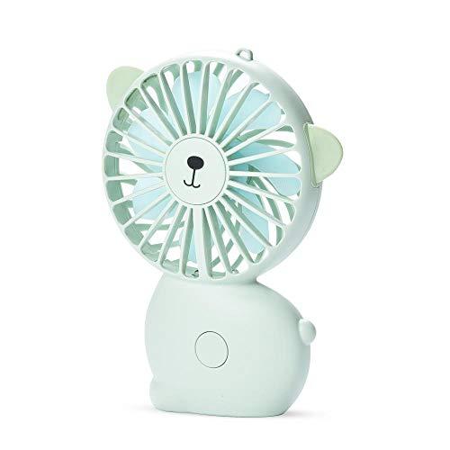 mumusm süße Katze wiederaufladbare tragbare USB-Handheld-Lüfter Mini niedlichen Cartoon großen Wind Nachtlicht Aufladen Handheld-Lüfter, grün -