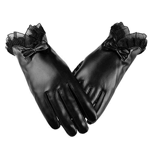 Womens Leder halten warme Handschuhe - PU Leder Winter kann Touch Screen Handschuhe, Luxus Bow-Knot Leder warme Handschuhe für Frauen Pink