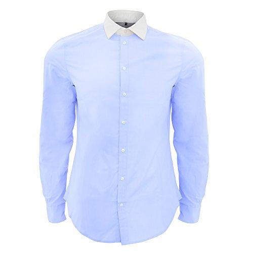 Sols - belmont - camicia classica in popeline colletto a contrasto - uomo (m) (azzurro cielo)