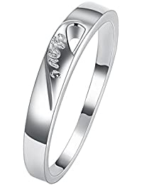 Epinki Mens Stainless Steel Double Ring Half Heart Rectangle Silver Blue Necklace