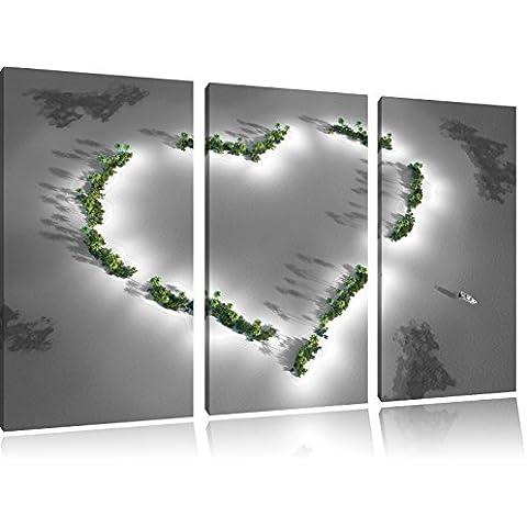 Cuore a forma di immagini Isole Nero / Bianco 3 pezzi tela di canapa 120x80 di su tela, XXL enormi immagini completamente Pagina con la barella, stampe d'arte sul murale cornice gänstiger come la pittura o un dipinto ad olio, non un manifesto o un banner,