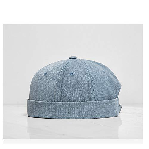 Baumwolle Barettmütze Land Flut Chinesischen Stil Einfarbig Lässig Wild Dome Kurze Kante Hut Gefesselt Hut Flut Karte Hut (Farbe : Navy Blue, Größe : 56-60CM)