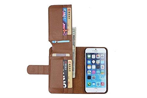 ubsma-newly Fashion Luxus-Echtleder Brieftasche Folio Ständer Flip Case mit 7Kartenschlitz für Apple iPhone 4/4S, iPhone 5/5S, iPhone 6/6Plus, iPhone/6S/6splus, iPhone 5C hohe Qualität Braun braun Iphone5s