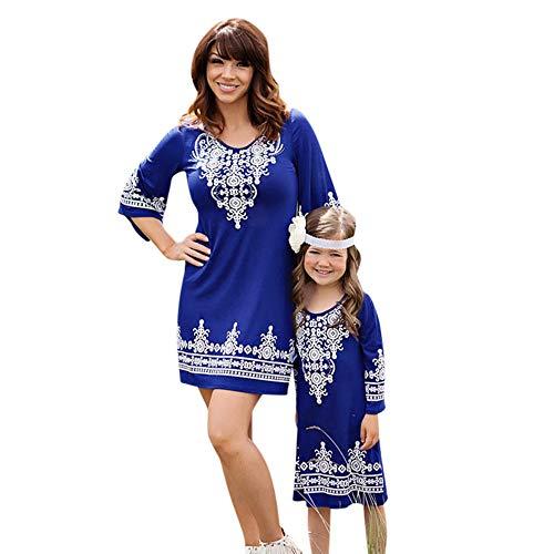 Oyedens Sommerkleid Mutter Tochter, Partnerlook Shirtkleid Blumenmuster Matching Outfits...