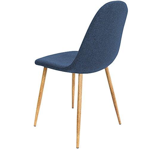 4x-Chaises-design-retro-avec-revtement-tissu-Coloris-au-choix