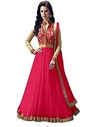 ecec9873fe4 Shreeji Enterprice Women s Net Semi-Stitched Anarkali Gown  (SE022 Orange Free Size)