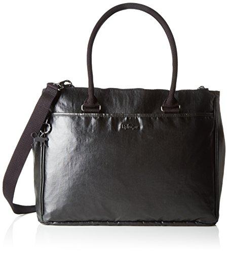 Kipling New Halia, Bolsa de Asa Superior para Mujer, Negro (37R Metallic Blck) 37x29x14 cm