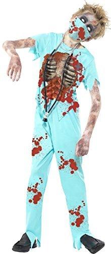 Jungen Mädchen Blood Stained Dead Zombie Chirurg mit Maske & Stethoskop unheimlich Halloween Arzt Kostüm Kleid Outfit 7-14 Jahre - Blau, 7-9 (Kostüm Zombie Rippen)