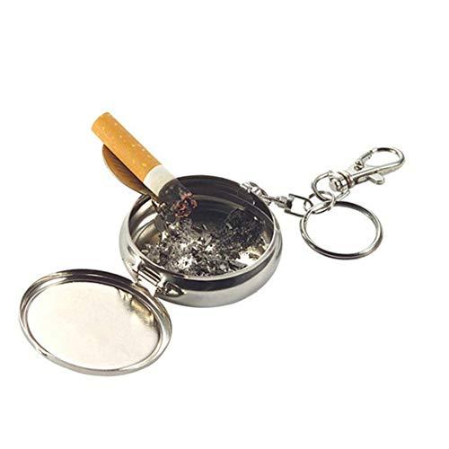 Ashtramyz Zigarettenaschenbecher, rund, aus Metall, tragbar, mit Schlüsselanhänger, Taschenaschenbecher aus Silber, leicht zu transportieren, 2 Stück