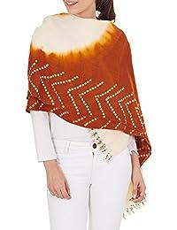 Cadeaux Rusty crème à l'orange des femmes accessoire indienne main châle de laine Tie-dye pour l'épouse 36x80 pouces