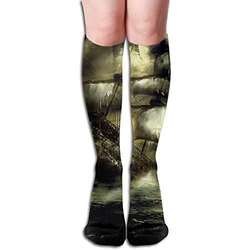 CVDFVFGB Compression Socks Ship Ghost Light High Boots Stockings Long Hose for Yoga Walking for Women - Ghost Ship Kostüm