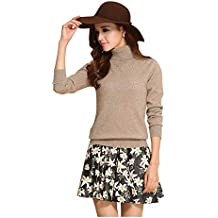 9acd2c2c6cbae Winfon Pull Femme Laine Maille Col Roulé Tricot Casual Manches Longues  Hiver Chaud Pullover Sweater Top