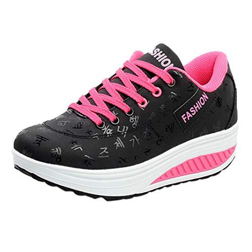 Zapatos Mujer,Mujeres Casual Deporte Moda Caminar Pisos Altura Aumento cuñas Swing Zapato