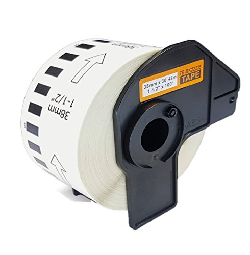 Azprint QL550 QL560 Endlosetiketten Papier Kompatibel für Brother DK22225 DK-22225 (38mm breit, 30,48m lang) für Brother P Touch QL-Etikettendrucker QL500 QL550 QL560 QL570 QL580N QL650TD QL700 QL-720NW QL1050 QL1060N | Thermopapier mit Kunststoffhalter
