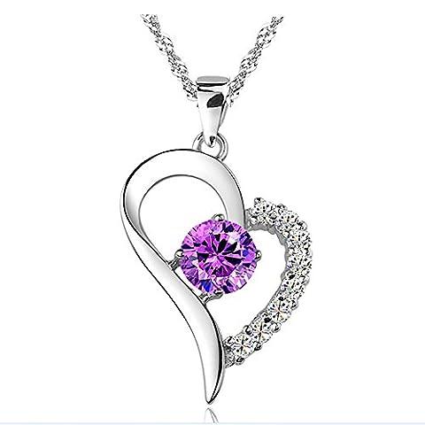 Kim Johanson Damen Herz Halskette in Lila Weiß aus 925