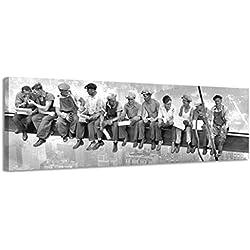 Lienzo decorativo panorámico, ciudad de Nueva York trabajadores II lienzo pared arte Lienzo imagen Vintage negro y blanco antiguo, negro/blanco, 158x46cm