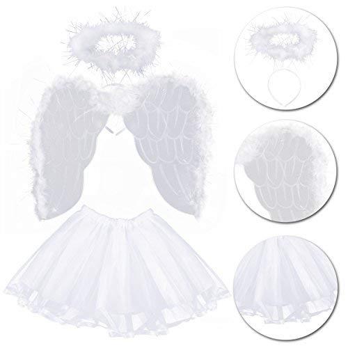 Kostüm Ange Fille - LEEQ Kostüm Ange Fille 3-8 Ans Ailes de Ange Serre-tête Auréole Baguette Magique et Jupe Tutu Blanc 4 Pièces