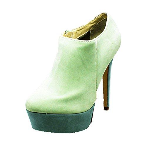 sendit4me Suedette Botines/Zapatos de Tacón Alto de Plataforma Alta Green