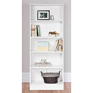 5 Tier Bookcase White Finish (H)1770mm (W)594mm (D)290mm