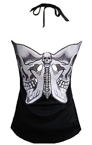 Butterfly-baumwolle-tank Top (Rockabilly Punk Rock Baby Damen Tank Top Shirt Schwarz Tattoo Skull Butterfly M)