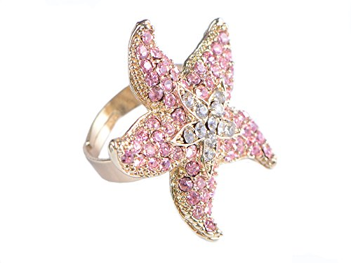 Rose Pink Ozean Seestern Stargazer Lilien Blume 5 Punkte Kristall Strass Ring