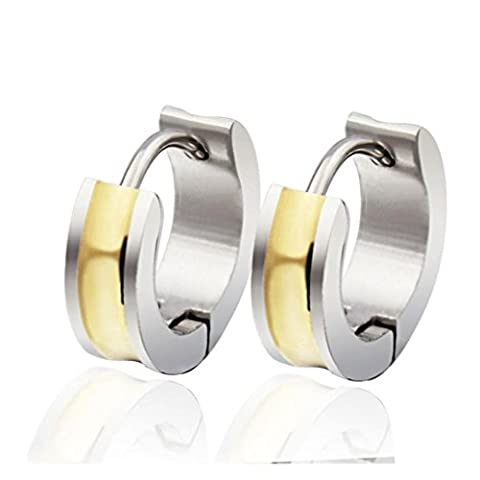 amdxd Bracelet jonc en acier inoxydable Boucles d'oreilles clous Femme–Design simple Blanc 7mm doré