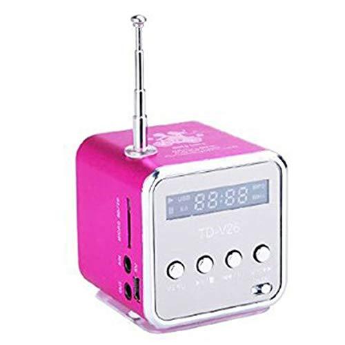 jEZmiSy, Musik Lautsprecher, Zuhause Accessary, Klingen, Mobile Audio, TD-V26 Mini TF-Karte FM-Radio AUX Stereo Spieler - Rosa -