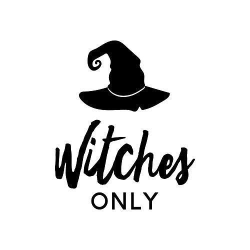 Wandtattoo aus Vinyl, Motiv: Hexen Only - 35,6 x 30,5 cm - lustige Gruselige Halloween-Dekoration - Kinder Teenager Erwachsene Innen Außen Wand Fenster Wohnzimmer Büro Dekoration (Billig Lustige Halloween Kostüme Für Erwachsene)
