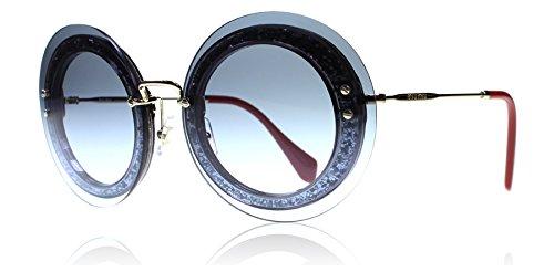 d27d54acca Miu Miu MU10RS UES4R2 Gold   Blue Glitter Reveal Round Sunglasses Lens  Category - Buy Online in Oman.