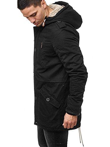 !Solid Herren Tejs warm gefütterter Parka mit Fellkapuze Winter Mantel Jacke Winterjacke Wintermantel 9000 Black S - 4