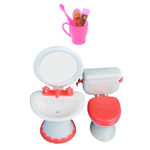 B Baosity Meubles de Maison de Poupée 1:6 Dollhouses - Kit de Toilettes avec Brosse à Dent Miniature en Plastique