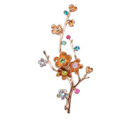 Yazilind Vintage Fleur Branche des feuilles colorees en cristal plaque or broches et epingles pour bouquet de mariag