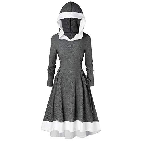 Kolila Weihnachten Damen Vintage Mantel Kleid Langarm Riemchen Insert Mock Button mit Kapuze Hoch Niedriger Saum Blusen Tops