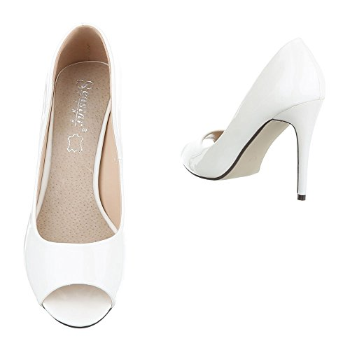 Peep Toe Damenschuhe Peep-Toe Pfennig-/Stilettoabsatz High Heels Ital-Design Pumps Weiß