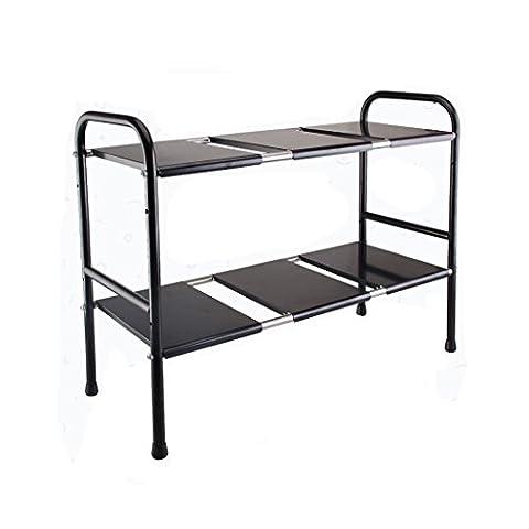 Sous évier étagère de stockage extensible réglable Organiseur à 2étages de rack pour salle de bain et cuisine organisation par Abimars Noir