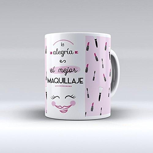 Taza decorada desayuno regalo original diseño frase La alegría es el