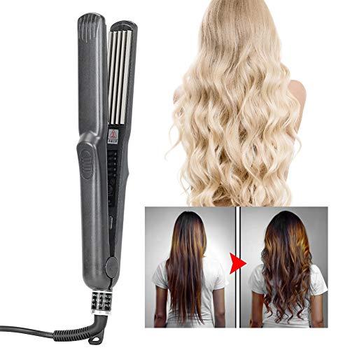 Plancha de pelo | Plancha para el peinado | Alisado profesional y rizos con placas de cuidado del cabello de titanio y temperatura ajustable (rizado o alisador)(# 2)