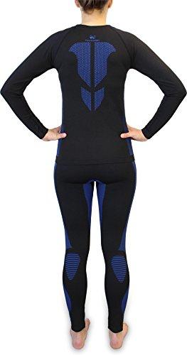 Damen Set Funktionsunterwäsche Polar Husky Thermoaktiv Atmungsaktiv Skiunterwäsche - Ski - Snowboard - Langlauf AFW / Blau