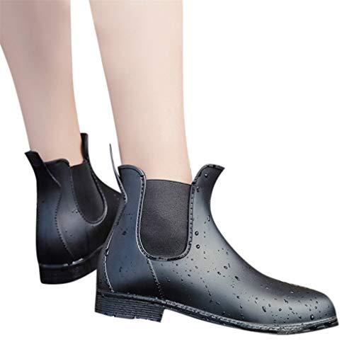 Dorical Kurzschaft Stiefel für Damen/Frauen Gummistiefel Gummistiefeletten Regenstiefel Mode Chelsea Boots Rain Boot Schlupfstiefel(Schwarz,42 EU)