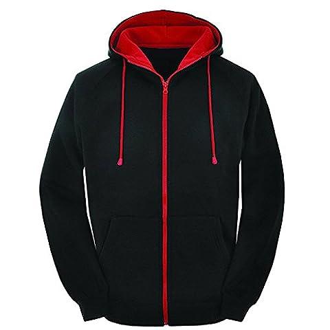 Mens Contrast Black and red zip varsity retro zip up hoodie, Unisex hooded sweatshirt zipper jacket